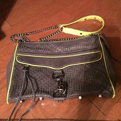 Rebecca Minkoff large MAC Quilted gray with highlighter accents. No imperfections other than small scuffs on bottom corners of bag. Large MAC. Silver metalwork Rebecca Minkoff Bags Crossbody Bags