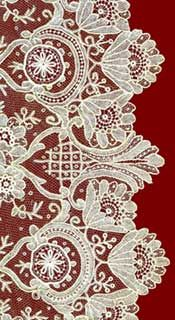Rose Point Brussels lace - needlepoint lace made with a single thread and needle, distinguished by very fine floral motifs, generally surrounded by tulle also made with a needle.  Point de Rose lace has been used primarily for bridal veils, handkerchiefs, collars, and fans.