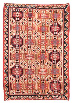 BED COVER, double-interlocked tapestry.  Scania, Sweden, around 1830. Färs/Gärds/Villands district.