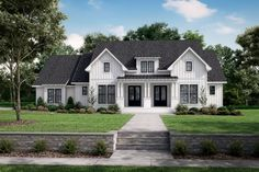This modern farmhouse exterior gives you a chic front porch. Inside, the open layout feels modern and bright. Questions? Call 1-800-447-0027 today. #architect #architecture #buildingdesign #homedesign #residence #homesweethome #dreamhome #newhome #newhouse #foreverhome #interiors #archdaily #modern #farmhouse #house #lifestyle #designer Modern Farmhouse Design, Farmhouse Style, Southern Farmhouse, Cottage Style, Bedroom Layouts, Best House Plans, Architectural Elements, Architecture Design, Floor Plans