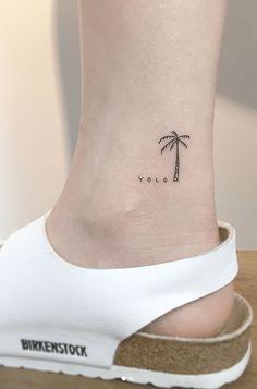 YOLO Palm Tree Tattoo - Tattoo, Tattoo ideas, Tattoo shops, Tattoo actor, Tattoo art - My list of best tattoo models Palm Tattoos, Mini Tattoos, Trendy Tattoos, Beach Tattoos, Surf Tattoo, Tatoos, Tiny Tattoos For Girls, Little Tattoos, Tattoos For Women