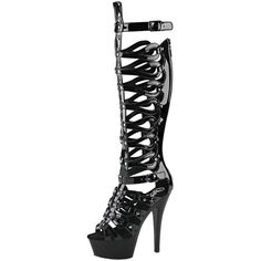 Womens Tall Gladiator Sandals Black Platform Boots Strappy Shoes 6... ($101) ❤ liked on Polyvore featuring shoes, sandals, high heels sandals, strappy high heel sandals, tall gladiator sandals, black platform sandals and strappy sandals