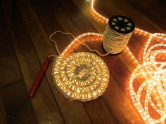 crochet + rope lights= cute Door Mat for night