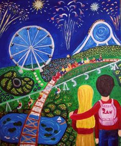 Adi Lev - Hugging in Luna Park Naive Art, Color Of Life, Community Art, Israel, Folk Art, Ale, Abstract, Middle East, Gallery