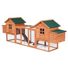 Pawhut Wooden Chicken Coop w/ Nesting Box and Outdoor Run