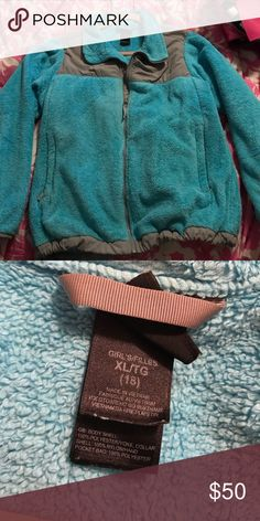 Blue Northface Jacket XL in girls, fits like Small in women's. Perfect condition, except name written on inside label. North Face Jackets & Coats