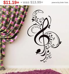 SALE! Black Friday Treble Clef Wall Decals Music Notes Vinyl Sticker Musical Patterns Vinyl Decal Room Bedroom Home Studio Decor FD56 by LollipopDecals on Etsy https://www.etsy.com/listing/292547265/sale-black-friday-treble-clef-wall