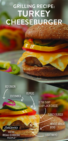 Looking for grilling recipes? Search no more. Tangy, pickled veggies and our Ultra Thin® Colby-Jack add a wallop of flavor to this burger. With 45 calories per cheese slice, it's sure to be the hit of I Love Food, Good Food, Yummy Food, Tasty, Grilling Recipes, Cooking Recipes, Healthy Snacks, Healthy Eating, Low Carb Recipes