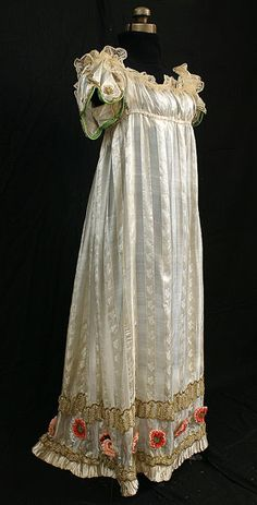 Neoclassical silk evening dress with metallic trim, c.1805, from the Vintage Textile archives