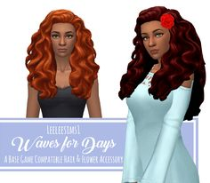 "leeleesims1: "" Waves for Days - A BGC Hair with Accessory Flower Woo boy, this one was a lot of work, but it's finally done! A much longer version of one of the Cats & Dogs curly hairs! Special thanks to @shespeakssimlish for testing! I decided to..."