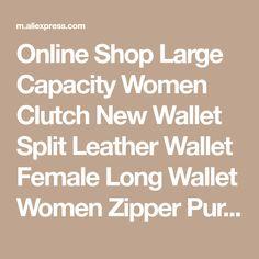 Online Shop Large Capacity Women Clutch New Wallet Split Leather Wallet Female Long Wallet Women Zipper Purse Strap Hollow Out Coin Purse Purse Strap, Coin Purse, Long Wallet, Wallets For Women, Leather Wallet, Zipper, Female, Shop, Store