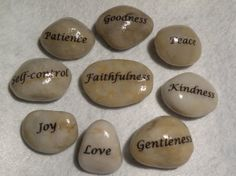 Christian inspiration Stones, Fruits of the Spirit; Candle Arrangements, Table Centerpieces, Table Decorations, Stone Painting, Diy Painting, Rock Painting, Prayer Rocks, Spiritual Garden, Christian Symbols