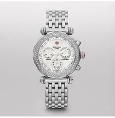Michele MWW16D000007 Watch Caber Ladies Diamonds MOP Dial Stainless Steel Case Quartz Movement Michele. $1284.40. This Michele Caber Sport Watch MWW16D000007 has a quartz chronograph movement. It features a mother-of-pearl dial and a scratch resistant sapphire crystal. It is decorated with flawless ideal cut natural diamonds on its bezel. Its finely crafted 37 mm case is made out of stainless steel. This watch is water resistant up to 50 meters.
