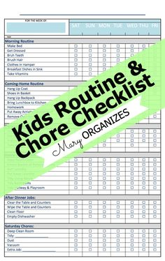 Free Templates Chore Charts  Download This Printable Blank