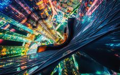 Download wallpapers Busan, South Korea, skyscrapers, top view, night, modern city, metropolis, night city, city lights, Roofing