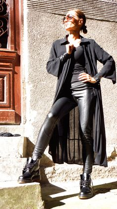 NEW COLLECTION Black All Leather Leggings / Eco Leather Pants  / Spring NEW  by Aakasha_A05162 (75.00 USD) by Aakasha
