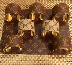 Wide cuff covered in authentic LV monogram canvas upcycled Louis Vuitton Earrings, Louis Vuitton Keychain, Louis Vuitton Handbags, Louise Vuitton, Arm Candy Bracelets, Fork Jewelry, Diy Purse, Vintage Gucci, Jewelry Accessories