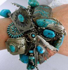 11 6oz 330g Spectacular 58 Charms Navajo Zuni Hopi Turquoise Charm Bracelet | eBay