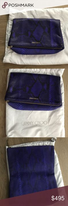 Jimmy Choo clutch Snake print violet and black snake like leather with gold hardware. 100% authentic ask for any pics you would like to see! Adorable travel clutch or fun for date nights! Such a great bag! Any reasonable offers would be acceptable! Jimmy Choo Bags Clutches & Wristlets