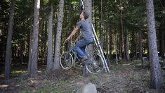 Wow! Bicycle Powered Tree House Elevator, wonder if any of our owners would be brave enough to build this?