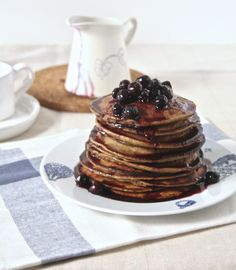 Flourless Banana & Oat Pancakes with Blueberry Syrup.