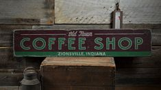 Old Town Coffee Shop Wood Sign Custom Java by TheLiztonSignShop