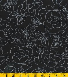 Gertie Collection Fabrics-Rayon Challis Stitch Floral Black