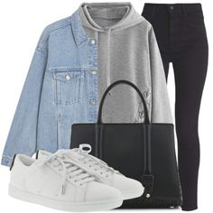 Casual outfit - black jeans, hoodie and denim jacket with converse Look Fashion, Teen Fashion, Korean Fashion, Fashion Outfits, Cute Comfy Outfits, Stylish Outfits, Winter Outfits, Outing Outfit, Mode Streetwear