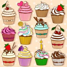 Find Set Isolated Icons Colorful Cupcakes stock images in HD and millions of other royalty-free stock photos, illustrations and vectors in the Shutterstock collection. Cartoon Cupcakes, Book Cupcakes, Cute Food Drawings, Cool Art Drawings, Kawaii Drawings, Cupcake Icon, Cupcake Art, Vintage Cupcake, Cupcake Illustration