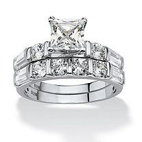 2 Piece 1.94 TCW Princess-Cut Cubic Zirconia Bridal Ring Set in Platinum over Sterling Silver at PalmBeach Jewelry