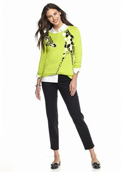 crown & ivy™ crown & ivy Crew Neck Giraffe Sweater, Classic Button Up Shirt, Bi-Stretch Clean Ankle Pant