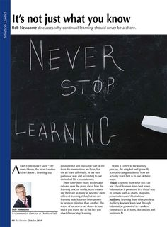 Bob Newsome - It's not just what you know - The Dentist, October 2014 (80/82). Page 1 of 2.