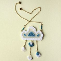 Lovely Cloud Necklace hama beads by GiveMeColours
