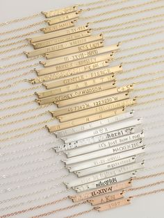 Personalized Bar Necklaces.  Rose Gold, Sterling Silver or 14k Gold Fill...Hand-Stamped just for you!
