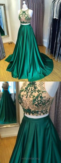 Two Piece Prom Dresses Green, Princess Party Dresses Ball Gown, Long Formal Dresses Scoop Neck, 2018 Evening Gowns Satin Tulle Beading