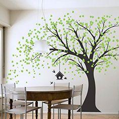 Sticker mural géant Arbre Noir avec feuilles vert oiseaux et Birdcage DIY Sticker mural en vinyle pour bébés enfants enfants chambre décoration