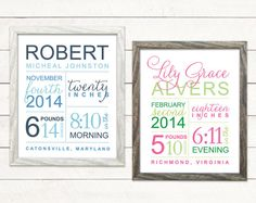 Custom Subway Style Artwork with Baby Birth Stats as a Poster or Announcement - from The Inked Leaf on Etsy $15