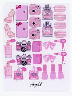 SALE Pink glossy icon sticker sampler camera heel nail polish blow dryer perfume planner book bow marcaron etc