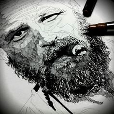 Working on a drawing of Tom Hardy