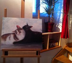 Painting «Love Cats» by Nadine Lière, Acrylic on canvas board, 50 x 40 cm, 2014, grenadine-art.eu