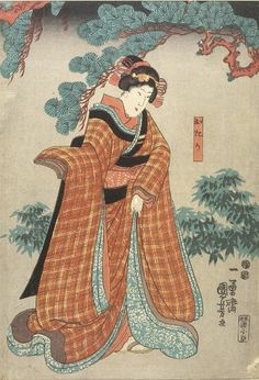 Utagawa Kuniyoshi, Women in Red Plaid Kueono, Edo period, 1615-1868, Harvard Art Museums/Arthur M. Sackler Museum.