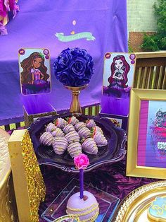 Chocolate covered strawberries at an Ever After High Birthday Party!  See more party planning ideas at CatchMyParty.com!