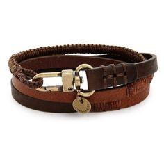 Men's Caputo & Co. Leather Wrap Bracelet (280 BRL) ❤ liked on Polyvore featuring men's fashion, men's jewelry, men's bracelets, brown combo, mens leather bracelets, mens watches jewelry, mens cord bracelets, mens bracelets and mens wrap bracelet