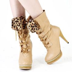 Faux Leather Charm Chain Leopard Boots
