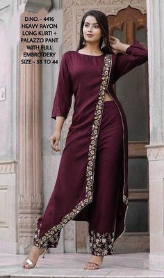 Indian handmade Designer Suit Details about  /Women Red Embroidered Straight Kurta with Palazzo