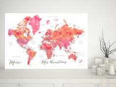 Tatiana: Mapamundi personalizado para marcar viajes, acuarela rosa y naranja #femenino #MapaParaChincheta #acuarela #MapaParaViajes #MapaParaPonerChinchetas #MapaConCiudades #corchera #corkboard #aventurero #DigitalDownload #aventura #MapaMundiTipoCorcho #MapaEnCorcho #MapaDelMundo #mapa