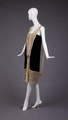 Maker unknown  1926-27  Black Silk velvet w/ lace, glass beads, rhinestones