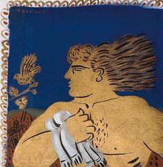 'Golden man with white scarf' by Greek artist Alekos Fassianos (b.1935). Acrylic on card, 35 x 33 cm. via eikastikon