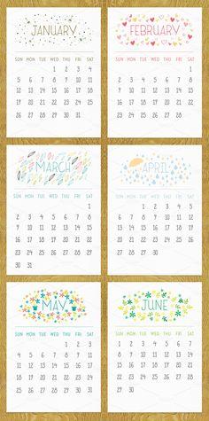Printable 2014 calendar on Creative Market