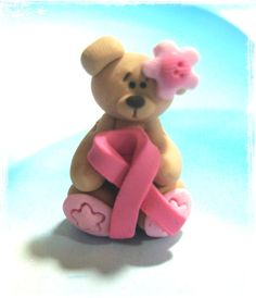 Breast Cancer Ribbon Bear Polymer Clay Charm Bead, Scrapbooking, Bow Center, Dangle. $2.75, via Etsy.